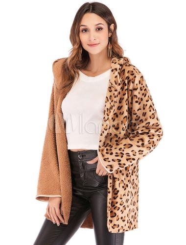 hermosa y encantadora mejor última colección Abrigo de oso de peluche Abrigo de leopardo de piel sintética remiendo