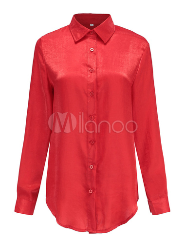 reputable site e352f c4164 Top a maniche lunghe con bottoni a manica lunga con collo a camicia rossa  da donna
