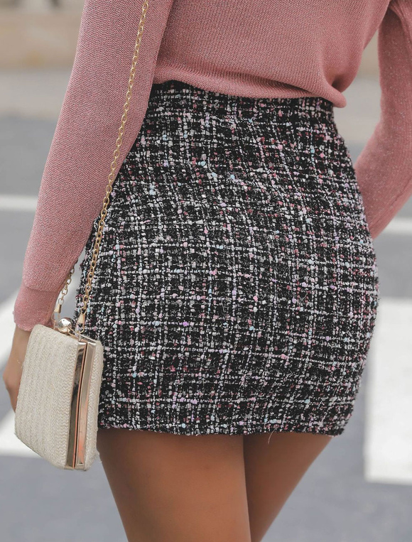 c014bea9461c Plaid Mini Skirt High Waisted Women Bodycon Skirt - Milanoo.com