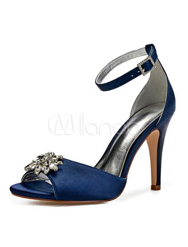 meilleur site premier taux magasin en ligne Scarpe blu madre scarpe da sposa in raso con tacco a punta e strass