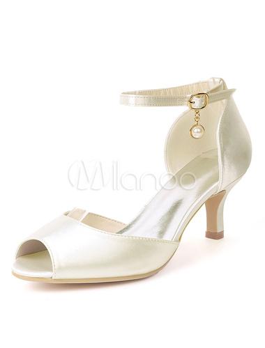 f7df1b65d ... Cetim Mãe Sapatos Peep Toe Pérolas Gatinho Salto Sapatos De Noiva  Convidado Do Casamento Sapatos- ...