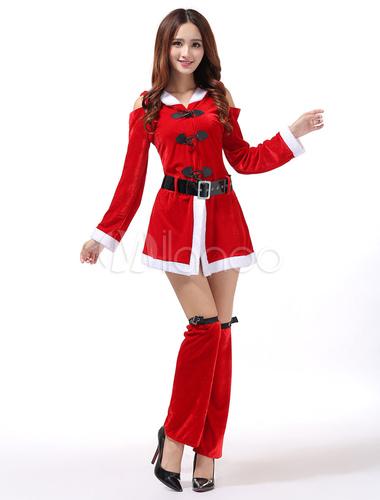 Christmas Costume Women Santa Claus Cosplay Dresses Hooded Leg Warmer Sash Set Girls Xmas Costumes Halloween
