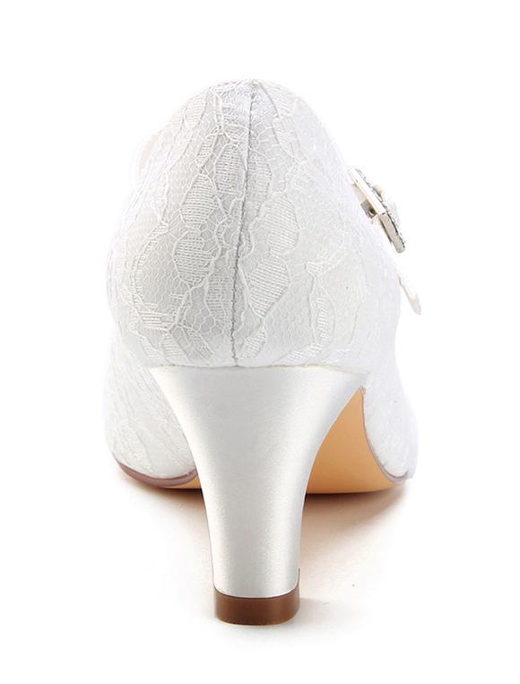 Vintage Hochzeit Schuhe 2018 Spitze Runde Zehe Schnalle Detail Braut