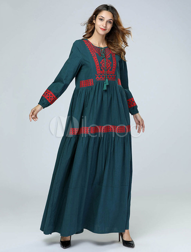 fc3d393395 ... Oversized Abaya Dress Long Sleeve Round Neck Ethnic Embroidered Tassels Maxi  Dress-No.4 ...