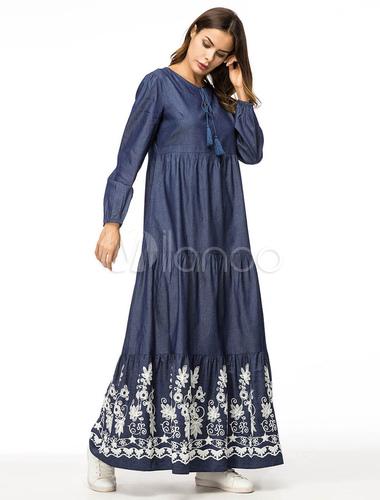 127704f169 ... Blue Denim Abaya Dress Long Sleeve Round Neck Ethnic Embroidered Maxi  Dress-No.2 ...