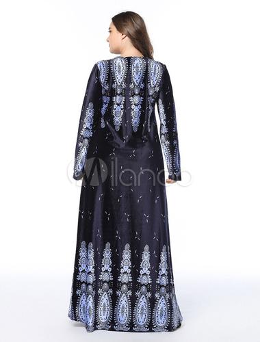 6465d8115d089d ... Muslimisches Kaftan Kleid Übergroße Lange Ärmel Gedruckt Dark Navy Maxi  Kleider-No.4