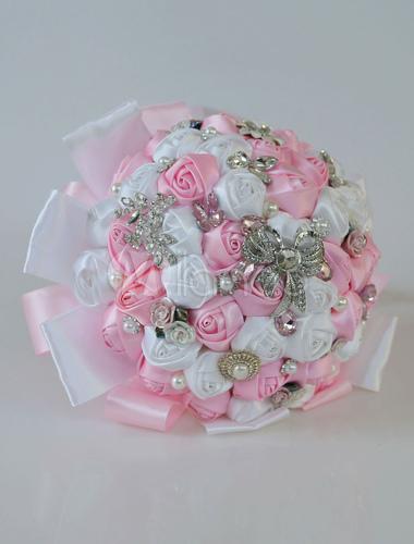 more photos a9c6a 2c640 Weinlese-Hochzeits-Blumensträuße-Rosa-königliche  Perlenrhinestones-Brautzubehör