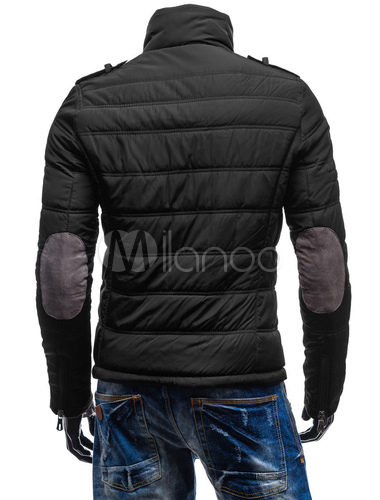Men Quilted Jacket Plus Size Patchwork Casual Winter Overcoat Black Padded Jacket