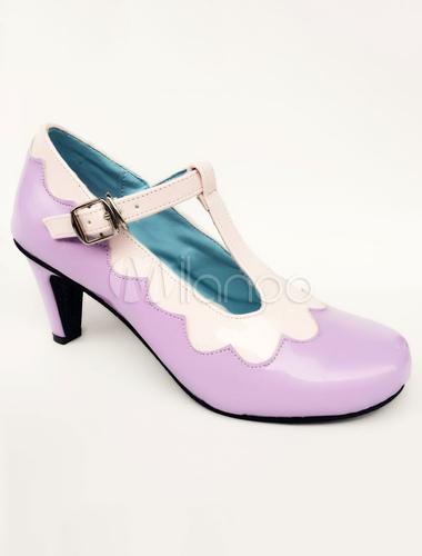 Zapatos de lolita de PU de puntera redonda Artísticos morados aPXtrIS30