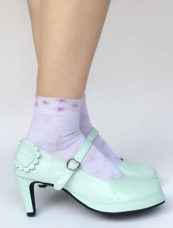 Zapatos de lolita con pala de PU brillante de puntera redonda con lazo Color menta estilo street wear RHPex