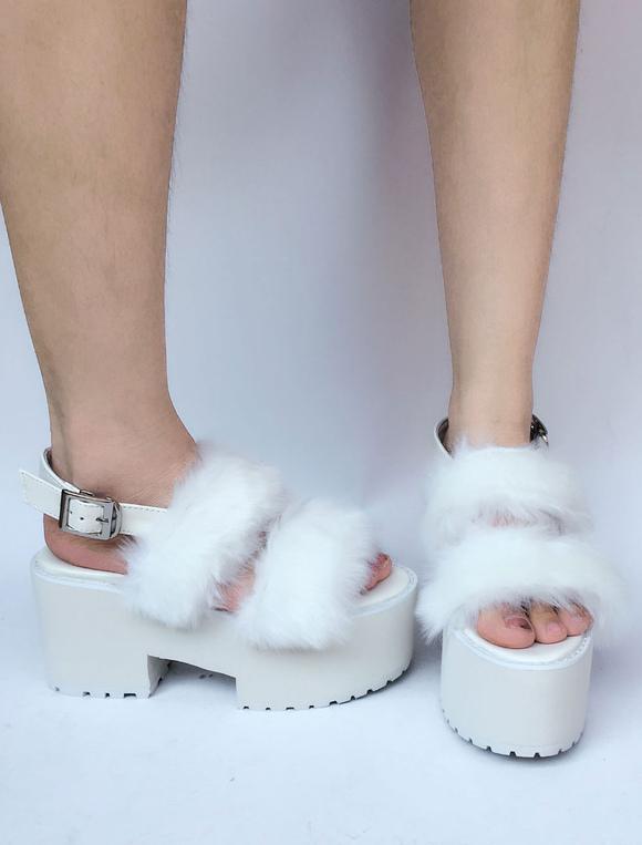 Zapatos de lolita de PU de puntera abierta Color liso blancos estilo street wear n3ZSSKi