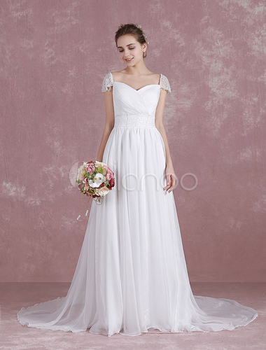 Sweetheart Cap Sleeve Wedding Dress