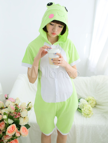 Kigurumi Pajama Frog Onesie Green Cotton Short Sleeve Animal Sleepwear For  Adult Halloween-No. 802342ed4fc46