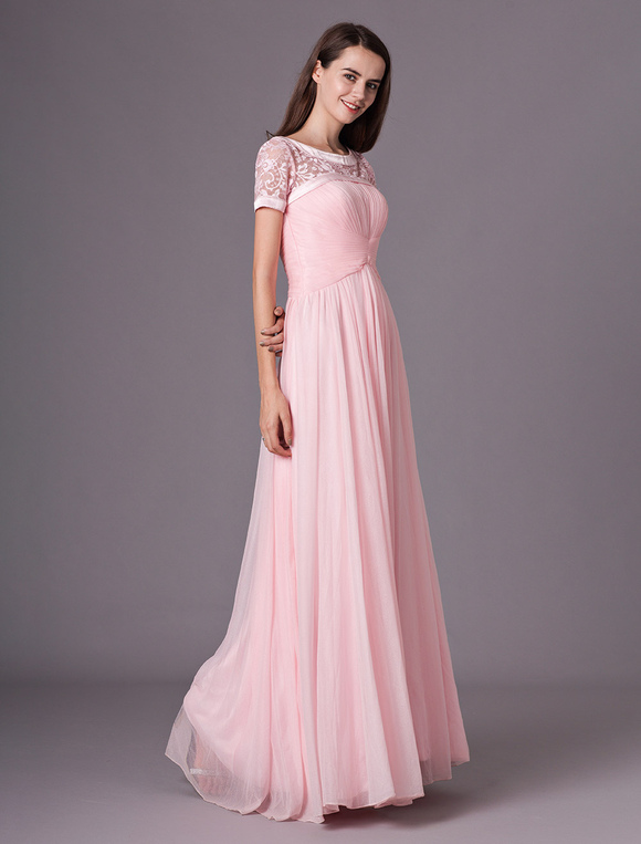 b2fe3accea ... Vestido de damas de honor de seda brillante de color rosado con escote  U Milanoo- ...