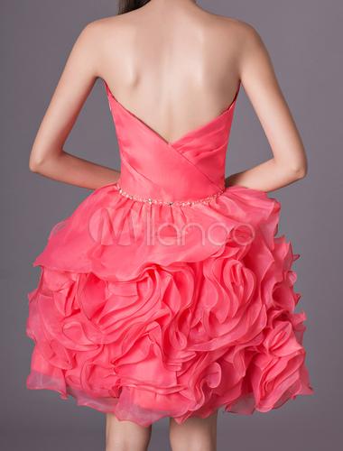32b78f8940 ... vestidos de gala de organza Rojo coral con escote en corazón sin mangas  con cuentas estilo
