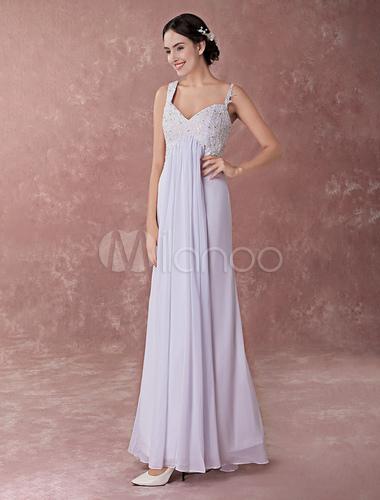 95c819356a4787 White Wedding Dresses Beach Boho Chiffon Lace Spaghetti Straps Empire Waist  Floor Length Bridal Dress