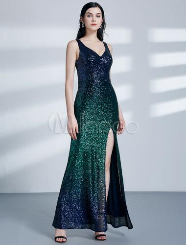 ac7487a5bea ... Robes de soirée en paillettes longue robe de bal vert bleu robe de soirée  sexy longueur ...