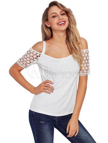 05025c869af Women T Shirt Short Sleeve Cold Shoulder Cut Out Tee Top - Milanoo.com
