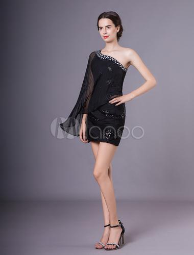 7fc4915f7 Vestido de noche de chifón negro de un solo hombro Milanoo - Milanoo.com
