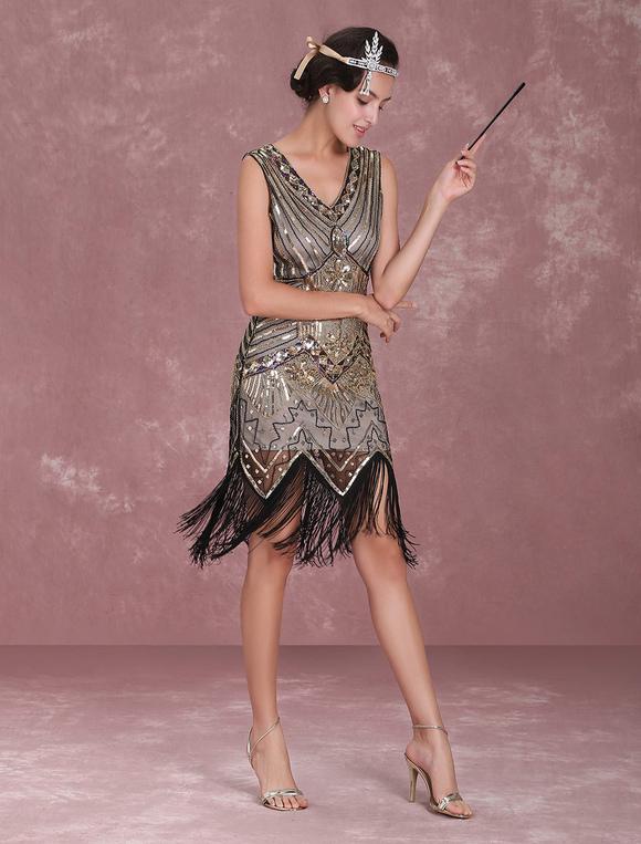 Vestito da Flapper Anni '20 2019 Great Gatsby Costume Vintage da Donna Abito di Nappine di Paillettes Albicocca Halloween