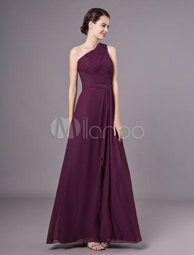 Vestido De Damas De Color Morado De Satén Mate Y De Gasa De Línea A Con Un Solo Hombro Hasta El Suelo