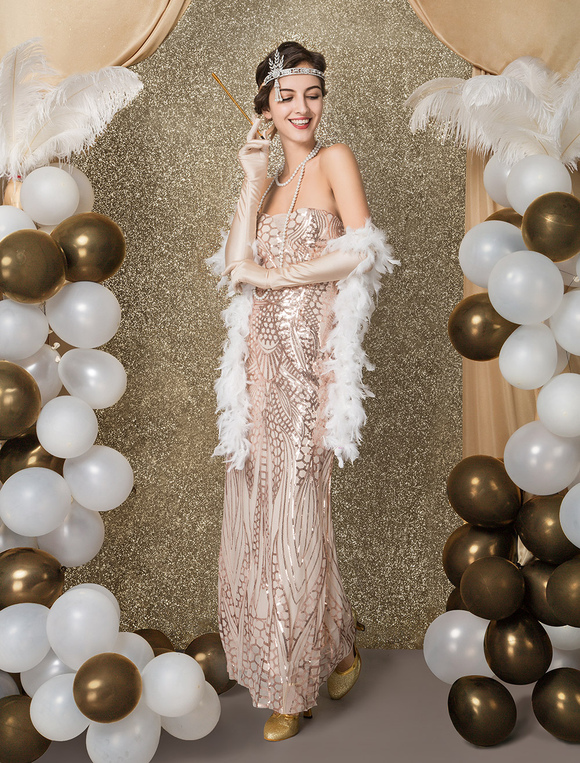 Great Gatsby Flapper Dress 1920s Vintage Costume Women S Champagne Sequined Meimaid Dress Halloween