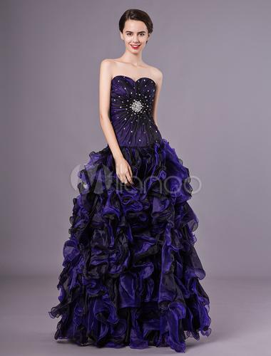 b3303330a ... Vestido para quinceañeras de organza Azul morado con escote en corazón  sin mangas con pedrería Atractivo ...
