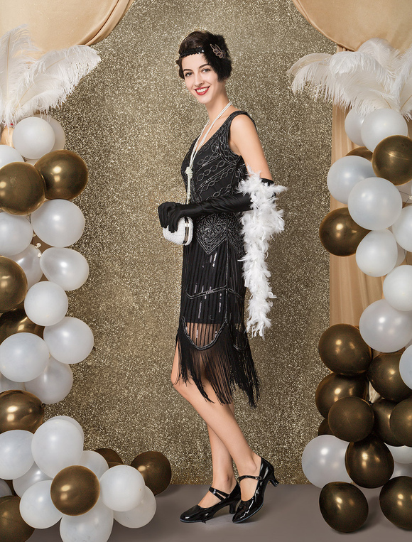 Halloween Flapper Dress Great Gatsby 1920s Vintage Costume Women S Black Sequined Charleston Dresses