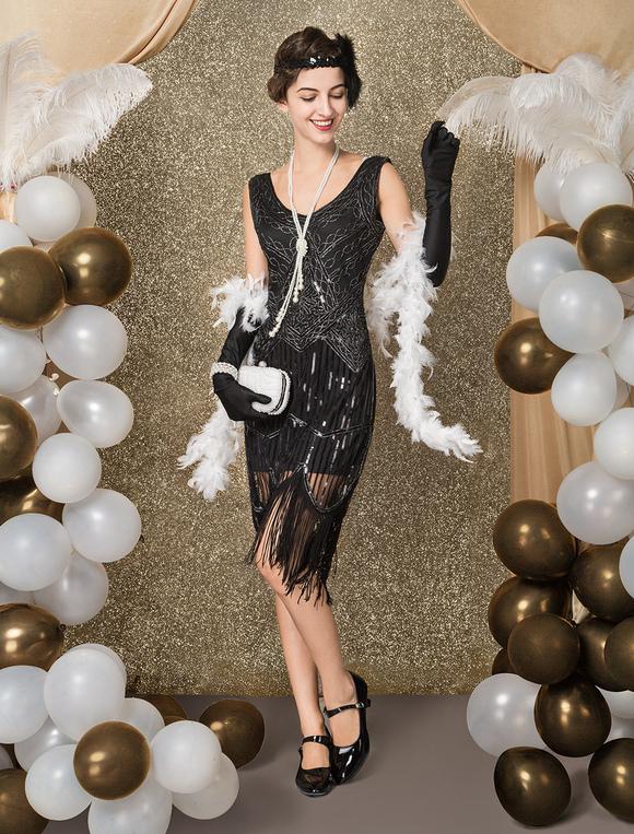 9b9ff77d325 ... Robe Charleston Femme vintage costume féminine avec paillettes noire de  Toussaint Flapper -No.2 ...