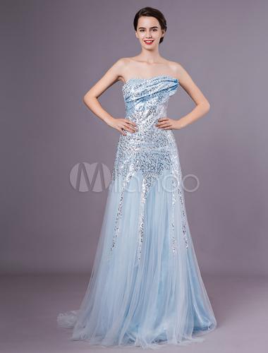 Red Carpet Dress Sequin Celebrity Dress Pastel Blue Strapless A Line
