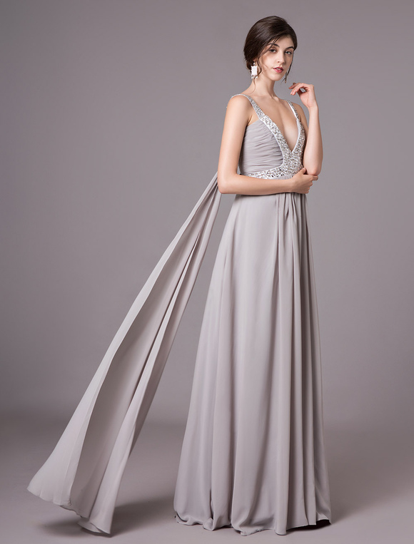 Milanoo / Silver Pleated V-Neck Beaded Applique Chiffon Maxi Evening Dress