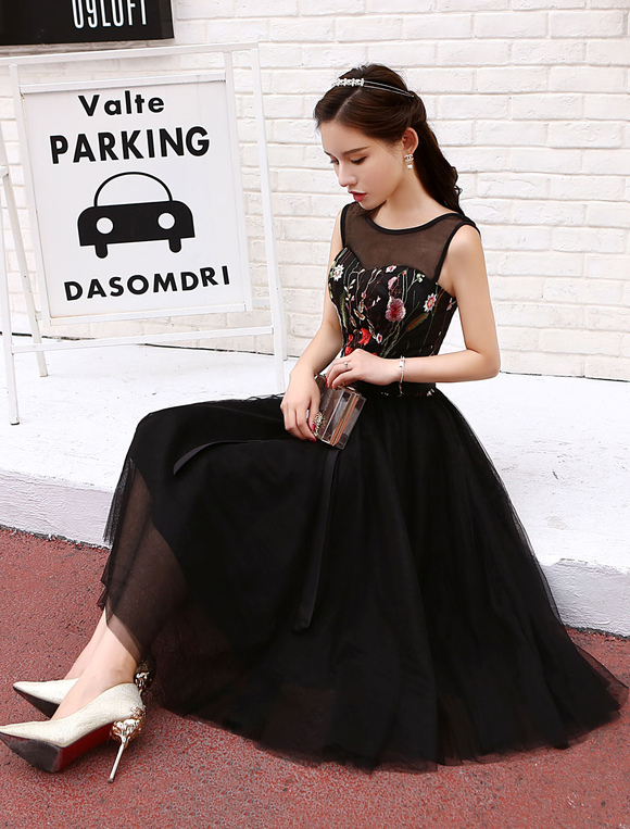 c18923ea871 Little Black Dresses Short Tulle Cocktail Dress Flowers Embroidered Tea  Length Party Dresses-No.