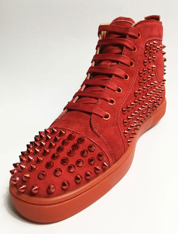 8502edb1e1e0 ... Red Skate Shoes 2019 Men Spike Shoes Suede Round Toe Lace Up High Top  Sneakers-