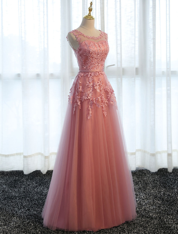 Vestidos De Fiesta De Encaje Rosado Línea A Apliques Tul Vestidos Largos Formales De Noche