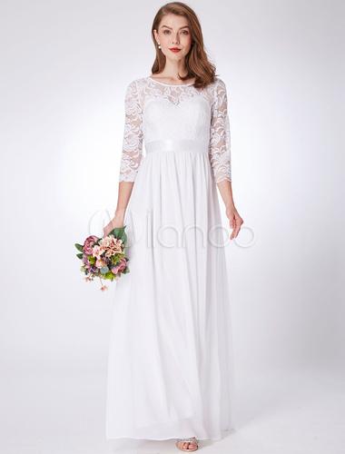 16915ee3b16 ... Robes de demoiselle d honneur en dentelle blanche en mousseline de soie  à manches mi ...