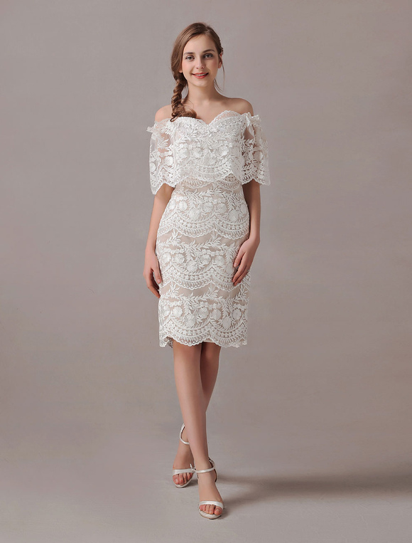 Boho Wedding Dresses Short Lace Off The