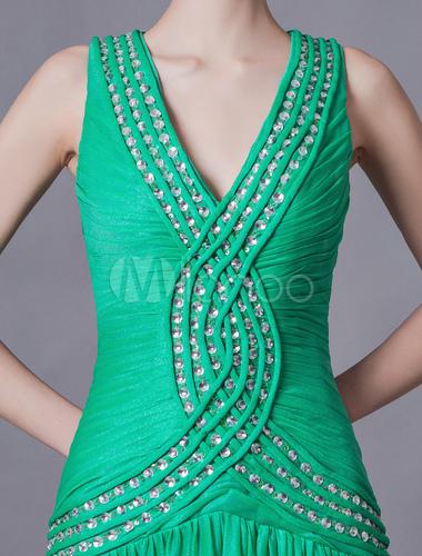 Beautiful Dark Green V-Neck Beading Sheath Prom Dress Milanoo
