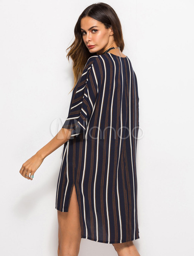 fd989847403b5 ... Striped Cover Up Women Half Sleeve Plunging Lace Up Tassels High Low  Mini Dress-No ...