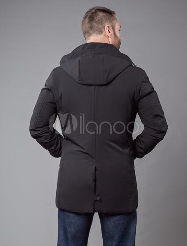 15adec5095cb1 ... Piumino e giacca da neve 2019 Cappotto nero Cappotto trapuntato casual  uomo manica lunga con cappuccio ...