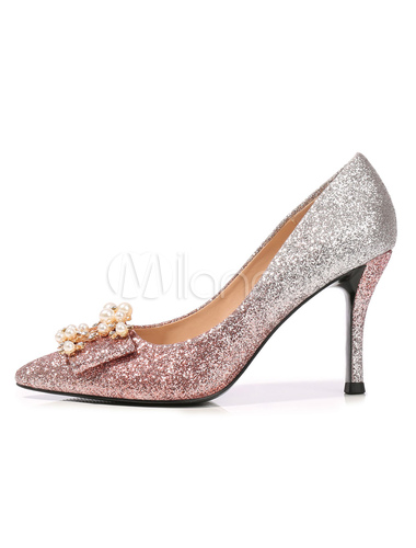 Glitter Prom Shoes Silver Pointed Toe Pearls Rhinestones Slip On Party Shoes Women High Heels