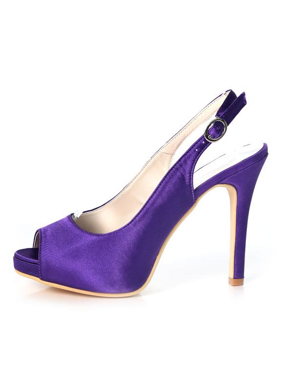 a87a0455544d7 ... Purple Mother Shoes Satin Peep Toe Slingbacks Wedding Shoes High Heel  Wedding Guest Shoes-No
