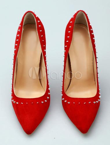 Rotes Kleid Schuhe Wolle spitze Zehennieten Slip On Pumps Damen High Heels