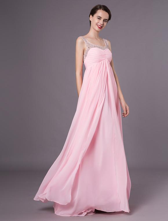 Rosa Abendkleid trägerlos rückenfrei Strass Chiffon-Kleid ...
