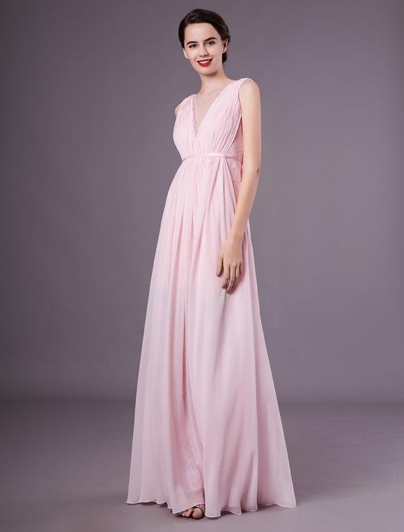 V Línea De Cuello Fiesta Rosa En Vestido Una Encaje Gasa Iby6g7Yfmv