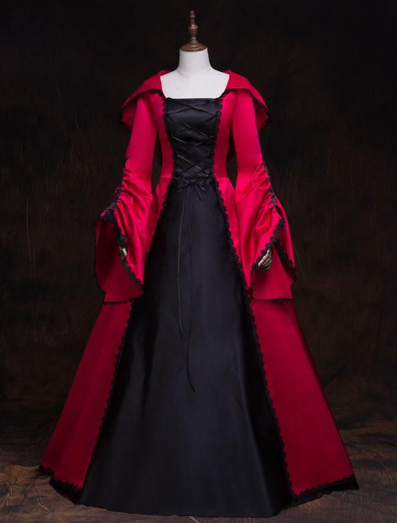 Costume Retro Robe Victorienne Femmes A Capuche Rouge Mascarade Robes De Bal Royal Vintage Costumes Deguisements Halloween Milanoo Com