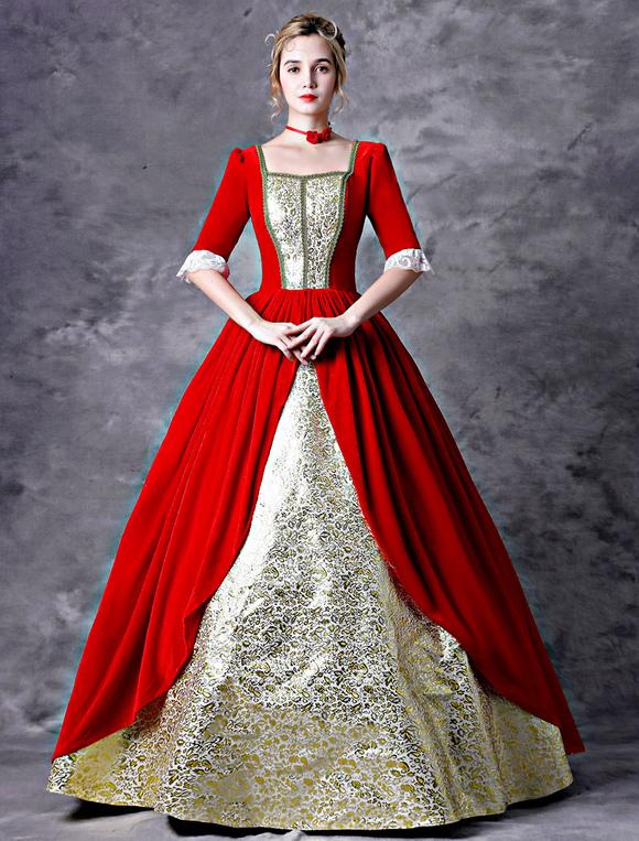 Costume De Robe Victorienne Retro Femmes Rouges Baroque Mascarade Robes De Bal Royal Vintage Costumes Deguisements Halloween Milanoo Com