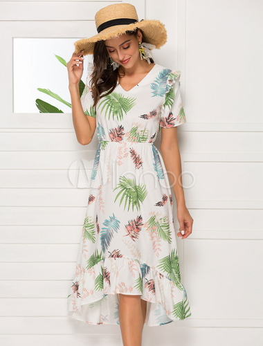 sports shoes c8c1e 2543c Abiti estivi bianchi Chiffon Beach Dress V Neck Tropical stampato Ruffles  Sundress