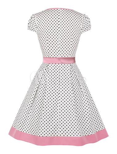size 40 on feet images of famous brand Polka Dot Summer Dress 1950s Vintage Short Sleeves Woman Summer Dress With  Pockets
