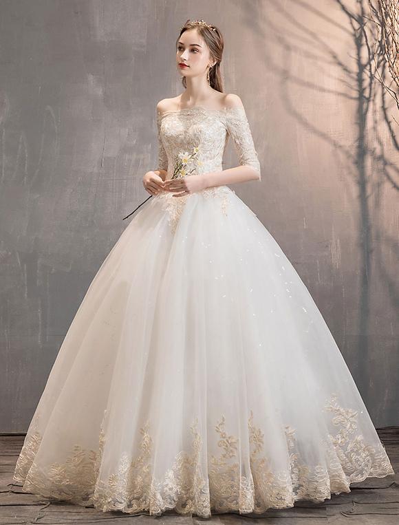 Vestiti Da Sposa Avorio.Principessa Abiti Da Sposa Avorio In Pizzo Applique Off The
