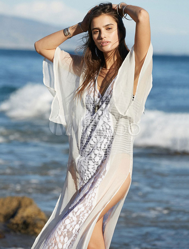 853ab9bf6d881f ... Cover Up For Woman Lace Split Front V Neck Short Sleeve Summer Beach  Swimwear-No